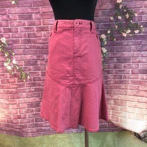 Marc Jacobs Dusty Pink Denim Flounce Skirt 8
